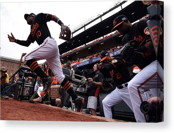Game Two Canvas Print featuring the photograph Adam Jones by Patrick Smith