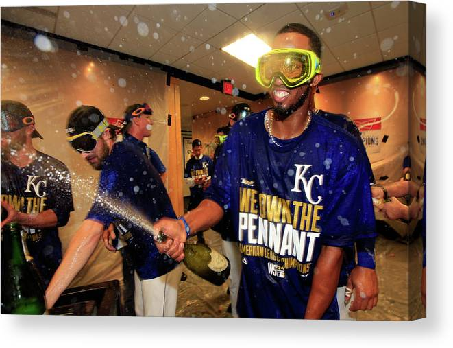 American League Baseball Canvas Print featuring the photograph Alcides Escobar by Jamie Squire