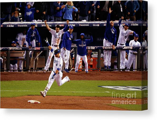 Ninth Inning Canvas Print featuring the photograph Alex Gordon by Christian Petersen