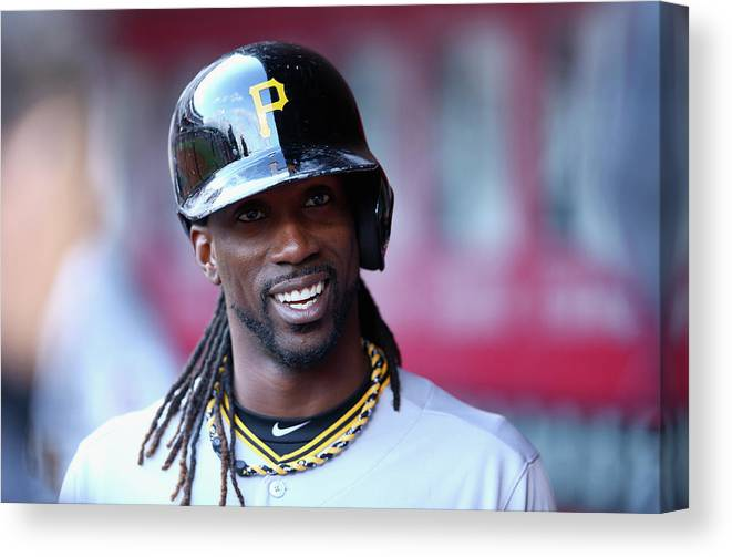 Great American Ball Park Canvas Print featuring the photograph Andrew Mccutchen by Andy Lyons