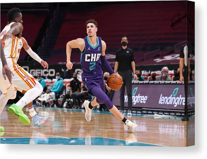 Nba Pro Basketball Canvas Print featuring the photograph Atlanta Hawks v Charlotte Hornets by Brock Williams-Smith