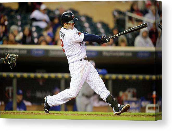 Game Two Canvas Print featuring the photograph Brian Dozier by Hannah Foslien