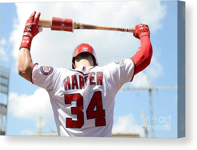 People Canvas Print featuring the photograph Bryce Harper by Greg Fiume