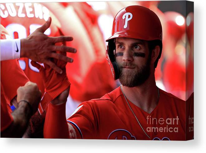 People Canvas Print featuring the photograph Bryce Harper by Mike Ehrmann