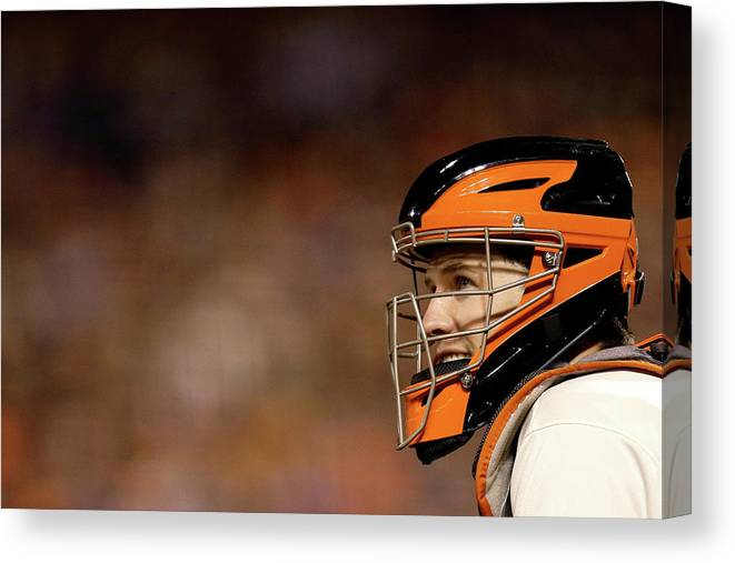Buster Posey Canvas Print featuring the photograph Buster Posey by Ezra Shaw