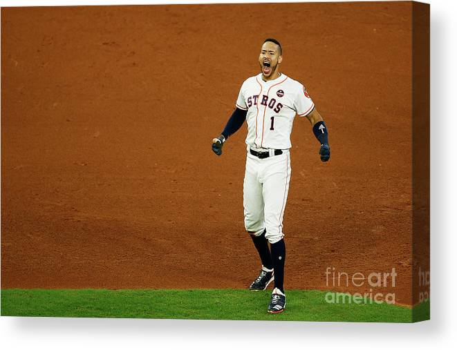 Game Two Canvas Print featuring the photograph Carlos Correa by Bob Levey