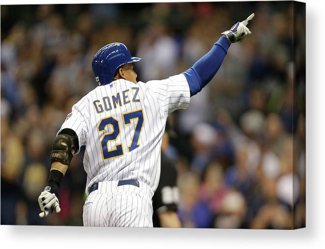 Wisconsin Canvas Print featuring the photograph Carlos Gomez by Mike Mcginnis