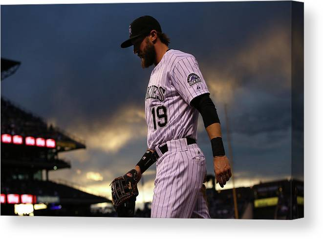 National League Baseball Canvas Print featuring the photograph Charlie Blackmon by Doug Pensinger