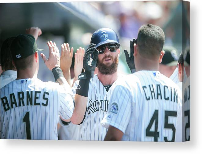 Scoring Canvas Print featuring the photograph Charlie Blackmon by Dustin Bradford