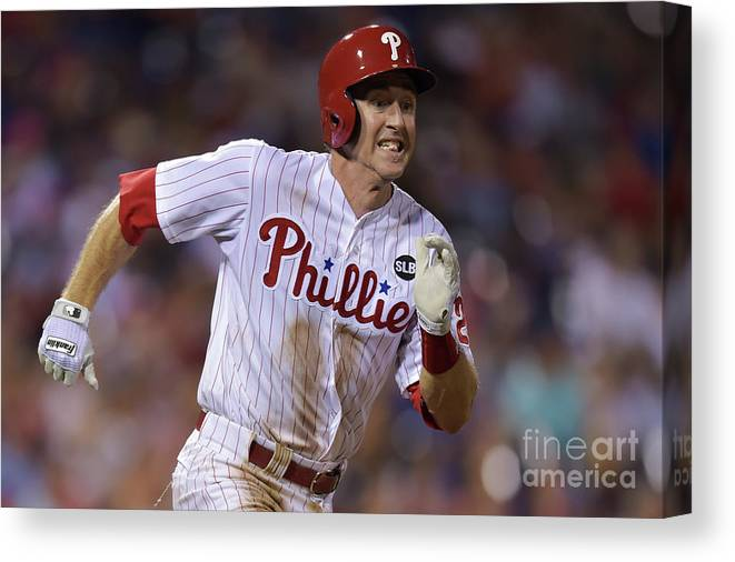 Three Quarter Length Canvas Print featuring the photograph Chase Utley by Drew Hallowell