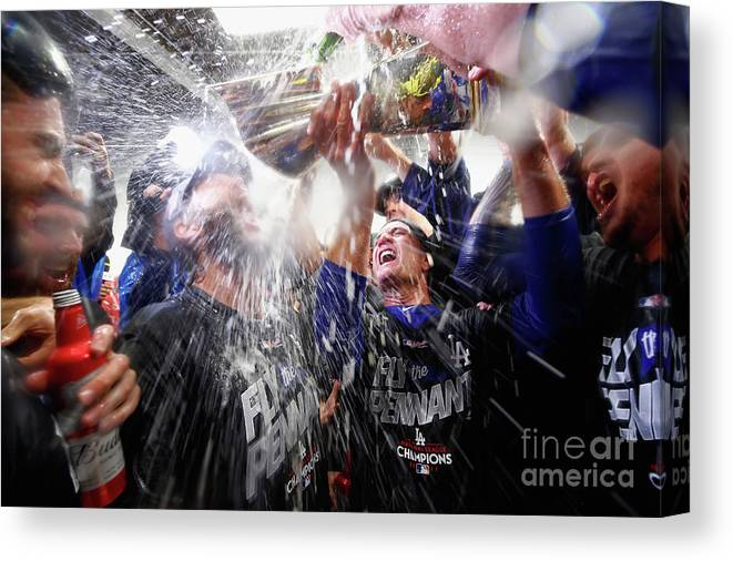 Championship Canvas Print featuring the photograph Clayton Kershaw by Jamie Squire