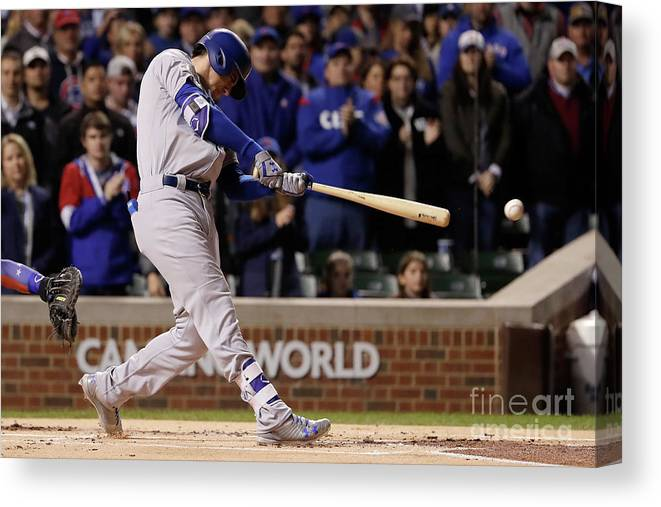 Championship Canvas Print featuring the photograph Cody Bellinger by Jamie Squire