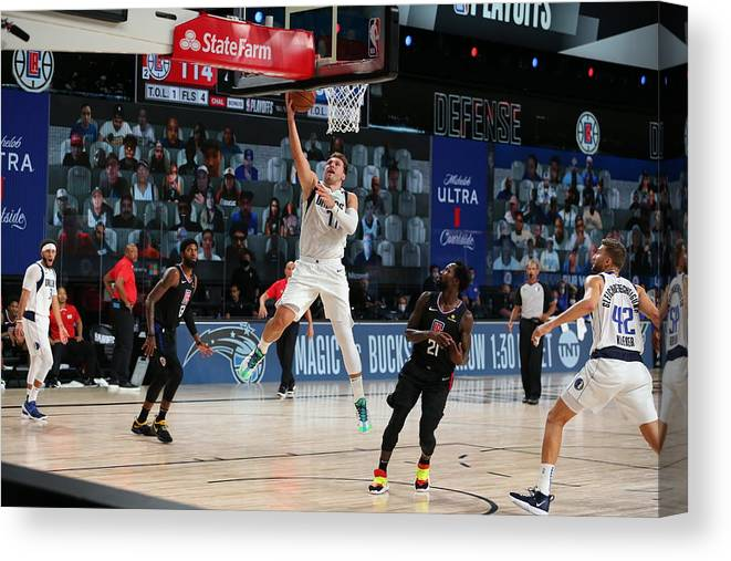 Playoffs Canvas Print featuring the photograph Dallas Mavericks v LA Clippers - Game One by David Sherman