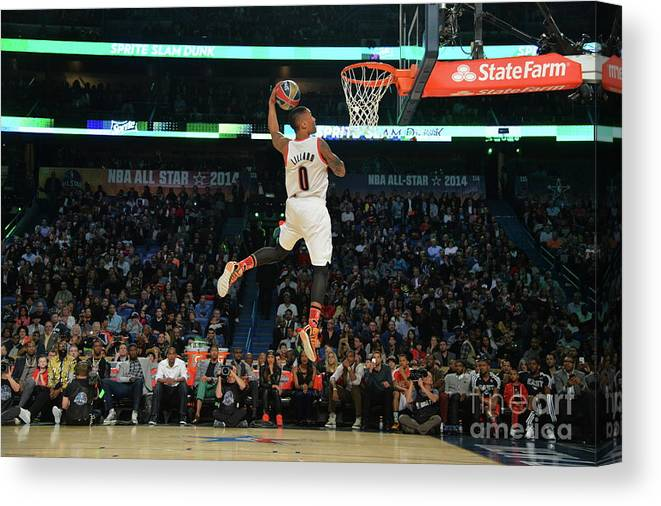 Smoothie King Center Canvas Print featuring the photograph Damian Lillard by Jesse D. Garrabrant