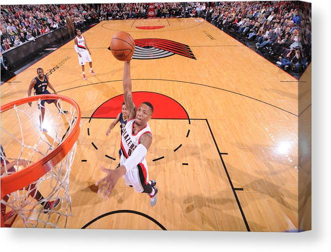 Nba Pro Basketball Canvas Print featuring the photograph Damian Lillard by Sam Forencich