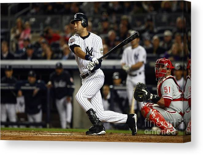 Game Two Canvas Print featuring the photograph Derek Jeter by Chris Mcgrath