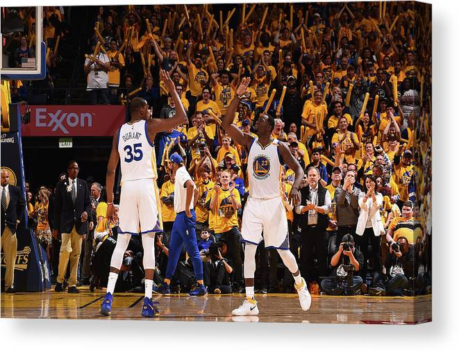 Playoffs Canvas Print featuring the photograph Draymond Green and Kevin Durant by Noah Graham