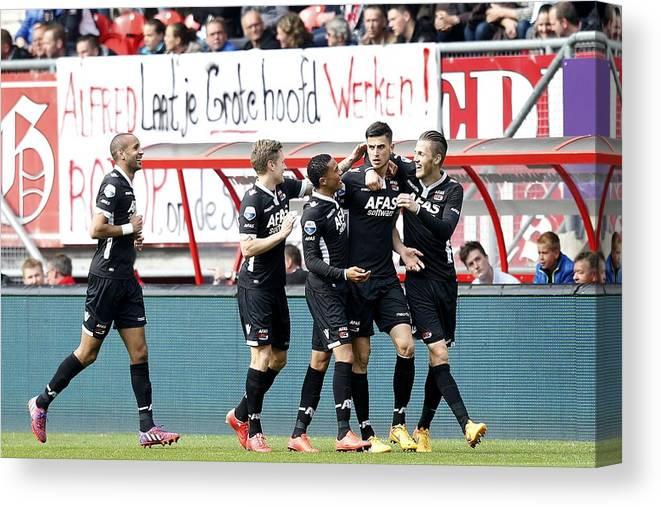 Netherlands Canvas Print featuring the photograph Dutch Eredivisie - FC Twente v AZ Alkmaar by VI-Images
