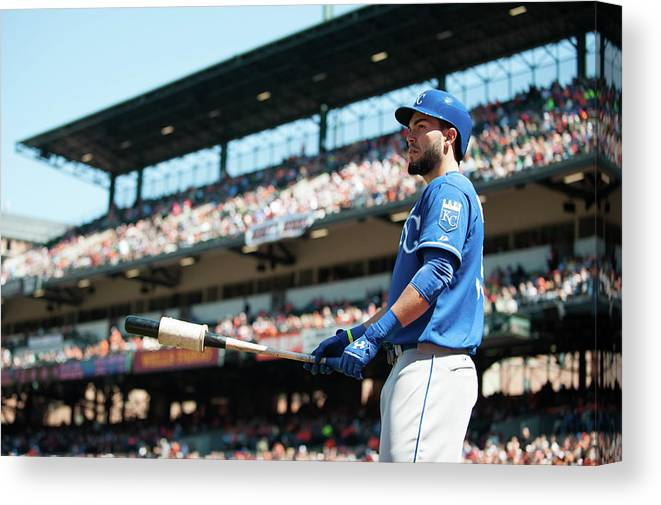 American League Baseball Canvas Print featuring the photograph Eric Hosmer by Rob Tringali