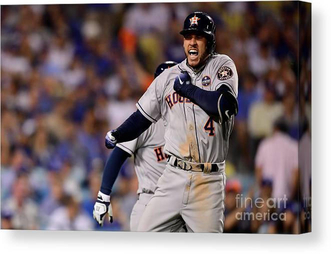 Game Two Canvas Print featuring the photograph George Springer by Harry How