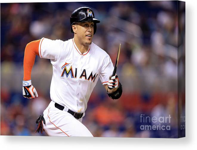 Three Quarter Length Canvas Print featuring the photograph Giancarlo Stanton by Rob Foldy