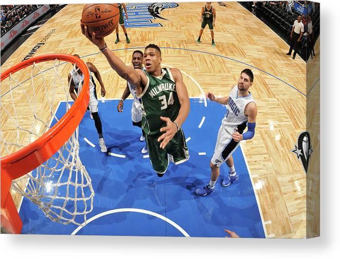 Nba Pro Basketball Canvas Print featuring the photograph Giannis Antetokounmpo by Fernando Medina
