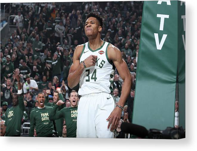 Playoffs Canvas Print featuring the photograph Giannis Antetokounmpo by Nathaniel S. Butler