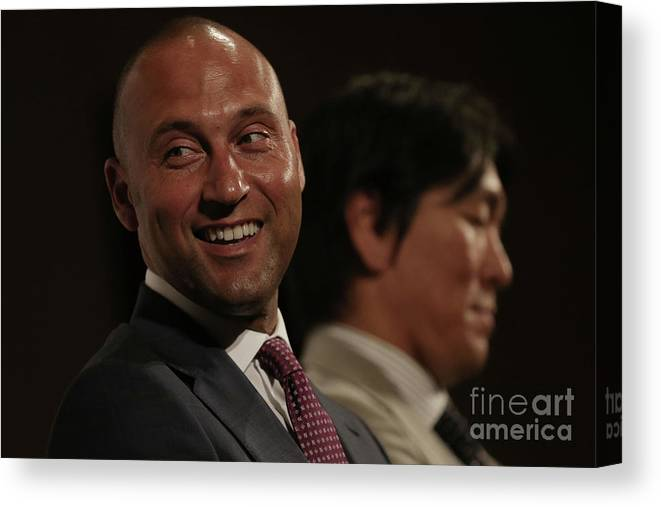 People Canvas Print featuring the photograph Hideki Matsui and Derek Jeter by Chris Mcgrath