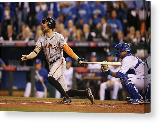 Playoffs Canvas Print featuring the photograph Hunter Pence by Brad Mangin