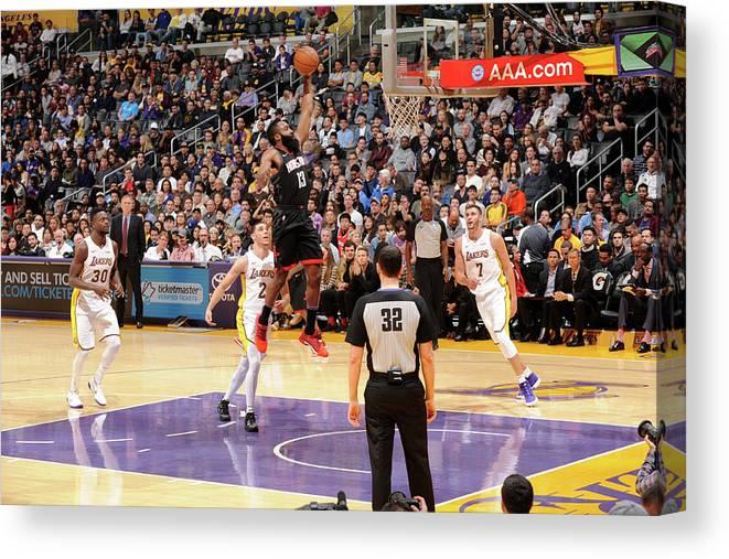 Nba Pro Basketball Canvas Print featuring the photograph James Harden by Adam Pantozzi