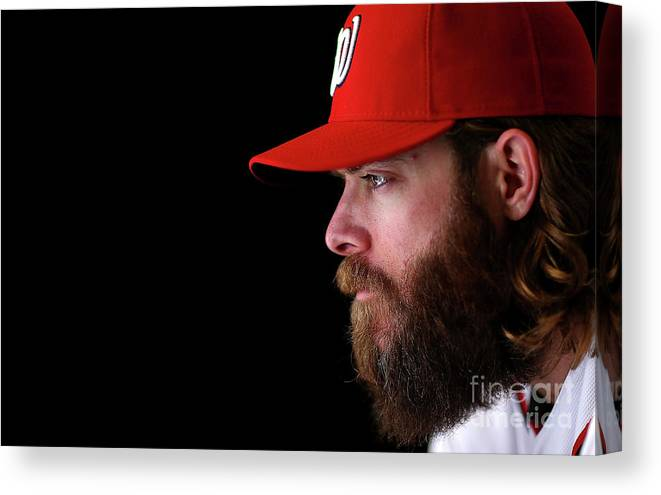 Media Day Canvas Print featuring the photograph Jayson Werth by Mike Ehrmann