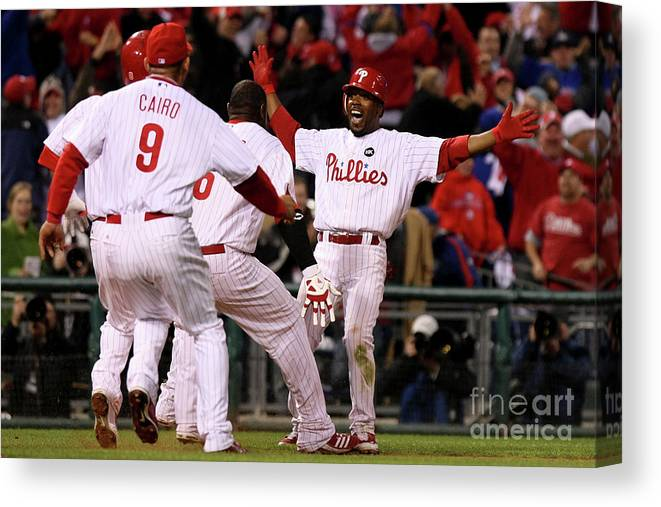 Playoffs Canvas Print featuring the photograph Jimmy Rollins by Nick Laham
