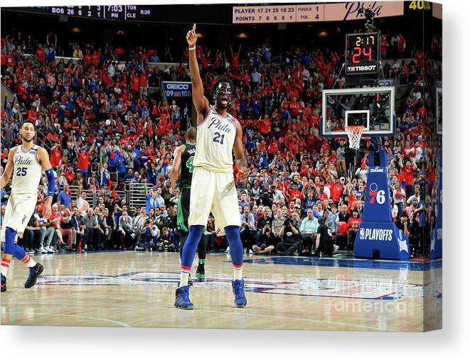 Playoffs Canvas Print featuring the photograph Joel Embiid by Brian Babineau