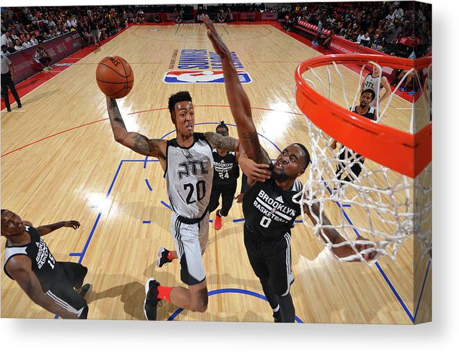Nba Pro Basketball Canvas Print featuring the photograph John Collins by David Dow