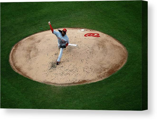 People Canvas Print featuring the photograph Johnny Cueto by Rob Carr