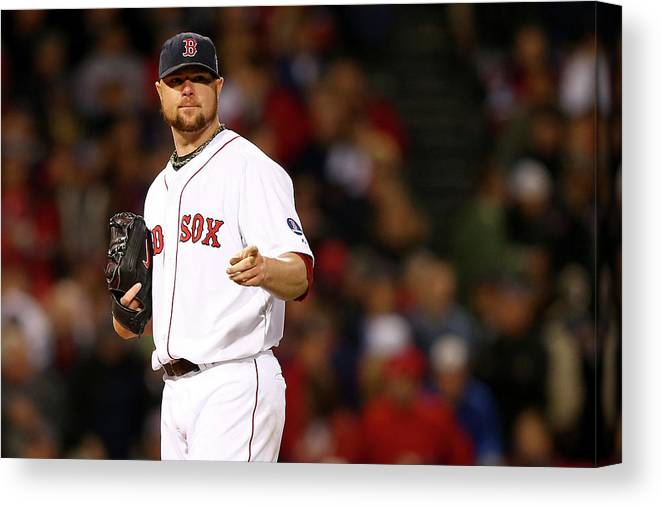 American League Baseball Canvas Print featuring the photograph Jon Lester by Elsa