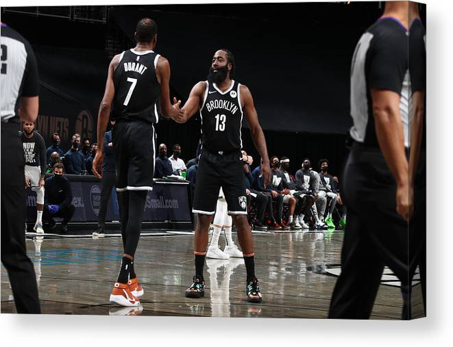 Nba Pro Basketball Canvas Print featuring the photograph Kevin Durant and James Harden by Nathaniel S. Butler