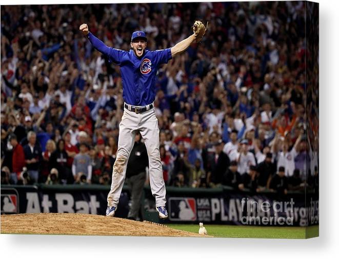 People Canvas Print featuring the photograph Kris Bryant by Ezra Shaw