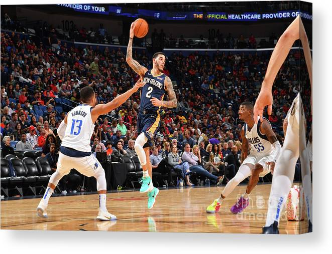 Smoothie King Center Canvas Print featuring the photograph Lonzo Ball by Jesse D. Garrabrant