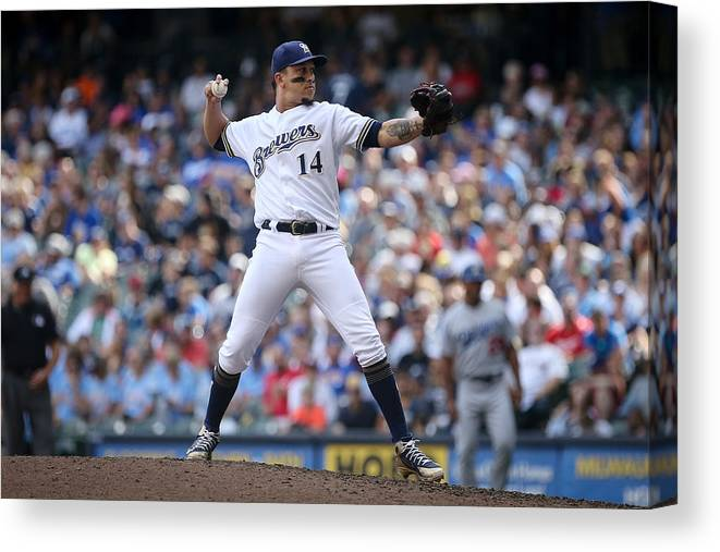 People Canvas Print featuring the photograph Los Angeles Dodgers v Milwaukee Brewers by Dylan Buell