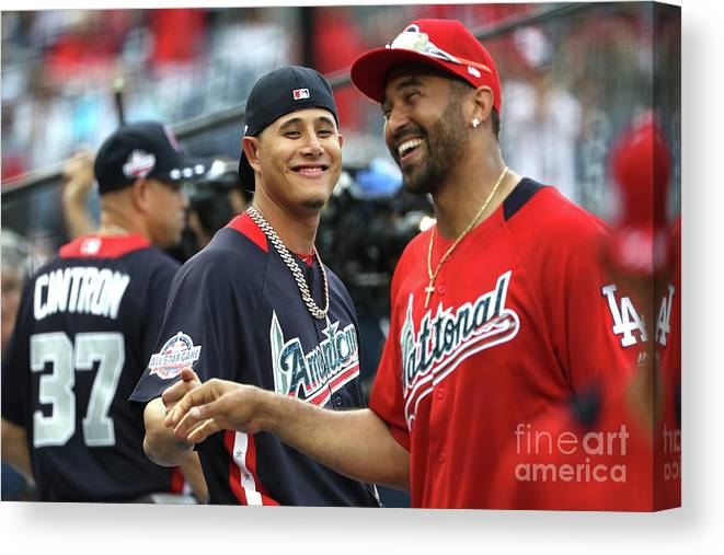 People Canvas Print featuring the photograph Manny Machado and Matt Kemp by Patrick Smith