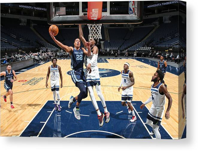 Nba Pro Basketball Canvas Print featuring the photograph Memphis Grizzlies v Minnesota Timberwolves by David Sherman