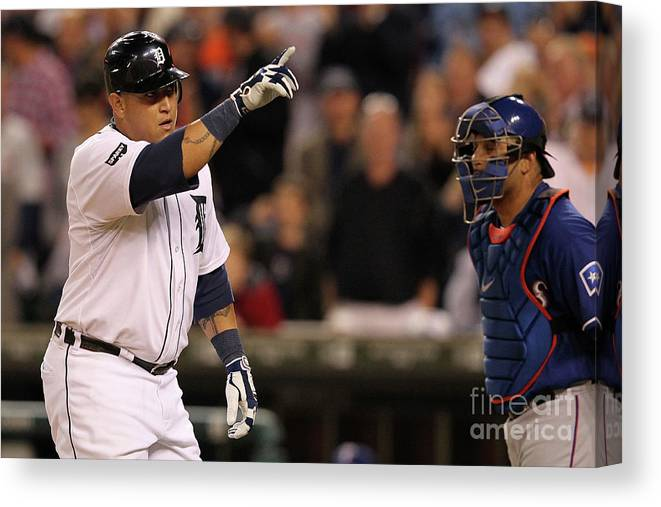 People Canvas Print featuring the photograph Miguel Cabrera by Leon Halip