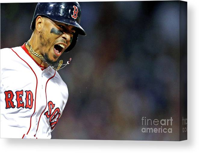 People Canvas Print featuring the photograph Mookie Betts by Maddie Meyer