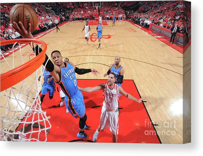 Playoffs Canvas Print featuring the photograph Russell Westbrook by Bill Baptist