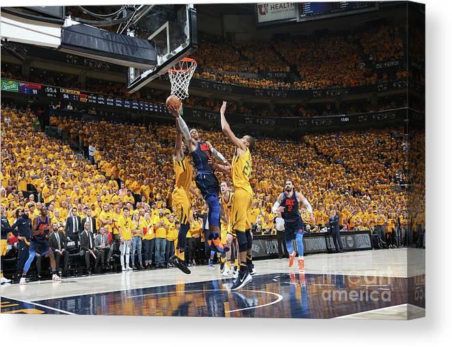 Playoffs Canvas Print featuring the photograph Russell Westbrook by Melissa Majchrzak