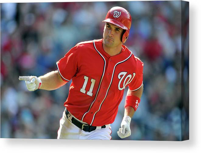 American League Baseball Canvas Print featuring the photograph Ryan Zimmerman by Greg Fiume