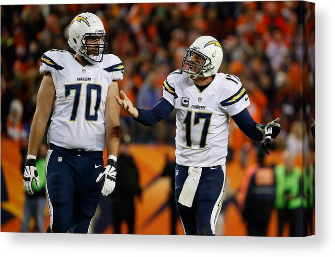 Three Quarter Length Canvas Print featuring the photograph San Diego Chargers v Denver Broncos by Sean M. Haffey