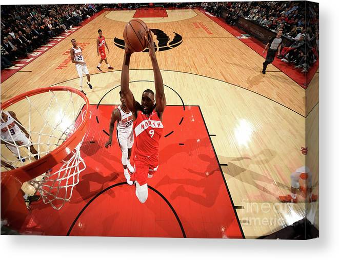 Nba Pro Basketball Canvas Print featuring the photograph Serge Ibaka by Ron Turenne