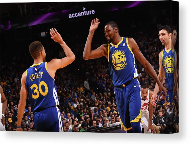 Nba Pro Basketball Canvas Print featuring the photograph Stephen Curry and Kevin Durant by Noah Graham